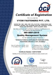 Vyom Fasteners an ISO 9001:2015 certified company